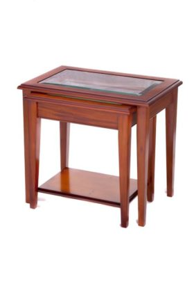 Reproduction Sheraton 2 Tier Glass Top Nest of Tables