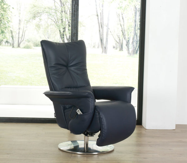 himolla Brock Recliner shown in black leather, in a living room setting.