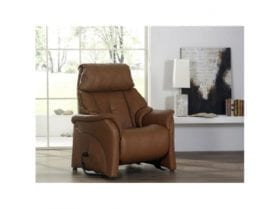 himolla Chester Chair shown in brown leather, in a living room setting.