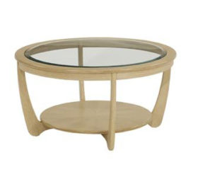 Shades Oak Glass Top Round Coffee Table