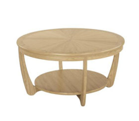 Shades Oak Sunburst Top Round Coffee Table