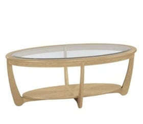 Shades Oak Glass Top Oval Coffee Table