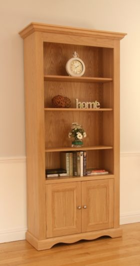 click to view pelham wide open bookcase with door