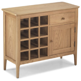 click to view harbour oak wine rack sideboard
