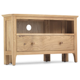click to view harbour oak corner tv unit with drawer