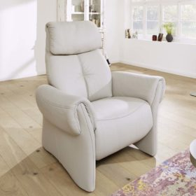 himolla Universe Recliner Chair, shown in pale grey leather, in a living room setting.